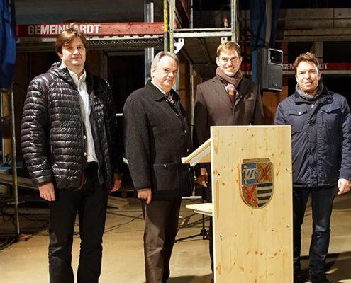Gemeinsames Projekt: (v.l.) Architekt Peter Flickinger, Geschäftsführer Ulrich Bittner von der Baugesellschaft München-Land, Kirchheims Erster Bürgermeister Maximilian Böltl sowie AWO-Fachbereichsleiter Thomas Kroll.