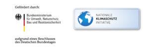 """Das Logo """"Nationale Klimaschutzinitative"""" mit dem Bundesministerium für Umwelt, Naturschutz und Reaktorsicherheit"""