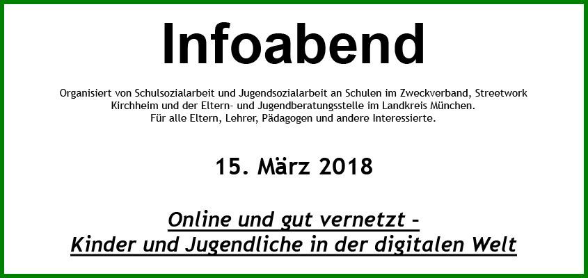 Infoabend am 15.03.2018 - Online und gut vernetzt - Kinder und Jugendliche in der digitalen Welt
