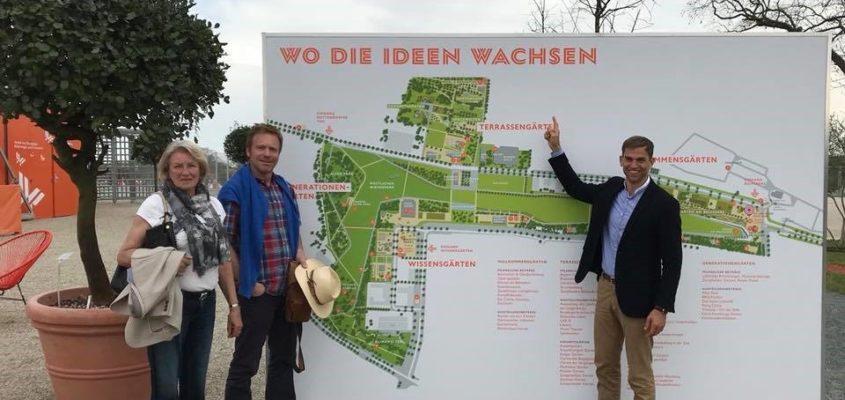 Wo Ideen wachsen: Bei der Eröffnung der Landesgartenschau in Würzburg sammelte Erster Bürgermeister Maximilian Böltl mit Stellvertreterin Marianne Hausladen und Gemeinderat Stephan Keck Ideen für ein blühendes Kirchheim.