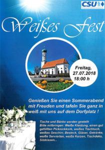Plakat Weißes Fest des CSU Ortsverband am 27. Juli um 18 Uhr