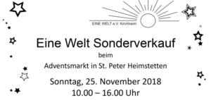 EINE WELT e.V. Kirchheim Sonderverkauf 2018
