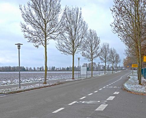 Der neue Schutzstreifen für Radfahrer in der Erdinger Straße.