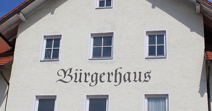 Schriftzug für das Bürgerhaus