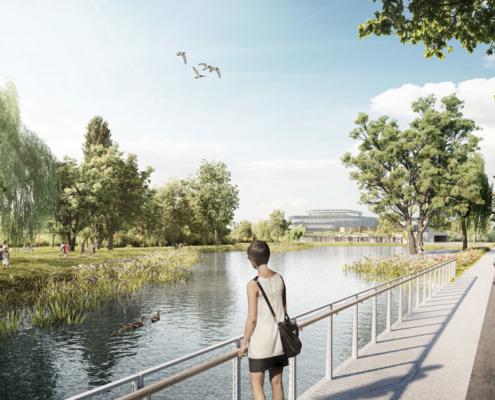 Blick auf das neue Rathaus und den Landschaftssee. Rendering: Blick in den Ortspark. Rendering: bloomimages Berlin GmbH