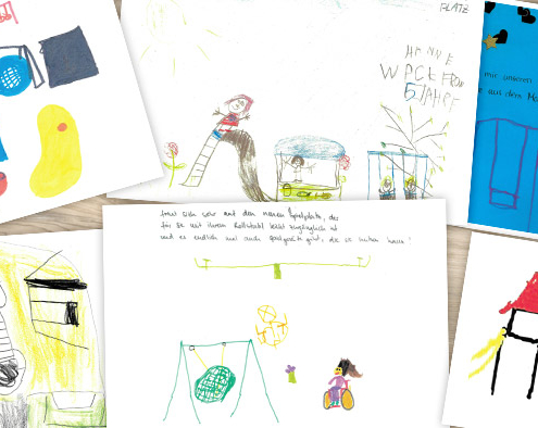 Zusammenspiel: Kirchheims Kinder wünschen sich neues Gerät für den Spielplatz am Theresienweg. Ihr Anliegen brachten sie mit vielen Bildern zum Ausdruck. Der Bauausschuss spielte mit und stimmte einer Sanierung, die auch die Inklusion fördert, zu.