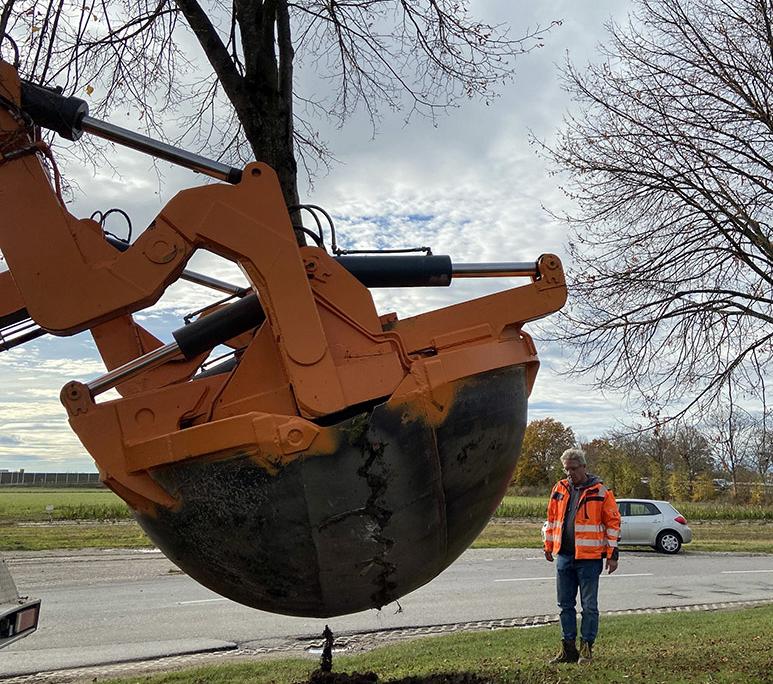 Verpflanzung mit Spezialgerät: Um die Bäume (in dem Fall eine Linde) nicht zu beschädigen, erfolgt der Einstich in den Boden in drei Metern Durchmesser rund um den Stamm. Foto: Sophia Schreib/Kirchheim 2024 GmbH