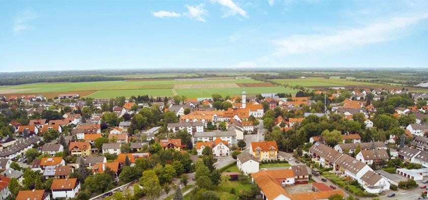 Der Ortsteil Kirchheim aus der Luft.