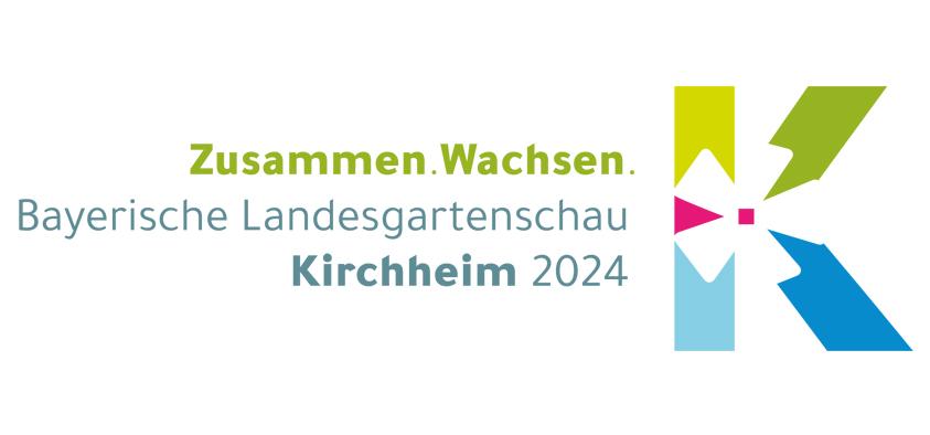 """Ein """"K"""", das auch als """"H"""" zu lesen ist, mit starkem Fokus auf die Blütenmitte – so präsentiert sich das Logo zur Landesgartenschau 2024 in Kirchheim."""