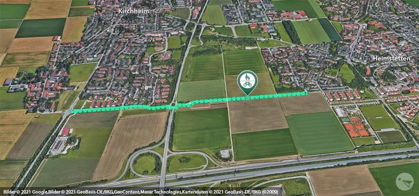 Foto: Luftbild vom geplanten Geh- und Radweg