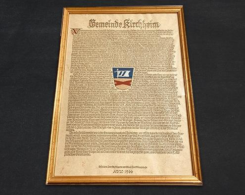 Foto: Original-Handschrift zur Verleihung des Kirchheimer Gemeindewappens