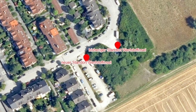 Foto: Luftbild des Schlehenrings mit dem neuen Standort der Wertstoffsammelinsel